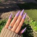 Пурпурные накладные ногти с полным покрытием, гроб, накладные ногти с клеем, стикер, твердые цветные длинные ногти, художественное украшени...