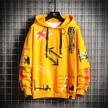 KKSKY Men's Hoodie Sweatshirts Men Graffiti Arrow 2020 Fashion Hip Hop Harajuku Japanese Streetwear Oversized Yellow Hoodie Men
