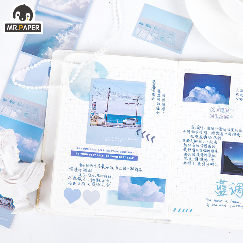 Mr.Paper 8 Designs Aesthetic Fantasy Sky Holiday Time Memory Bullet Journaling Deco Sticker Foggy PET Material Masking Tapes 5