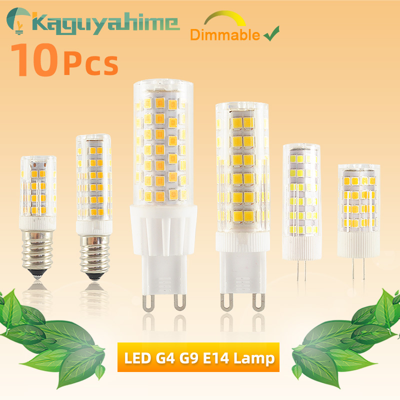Kaguyahime LED G9 E14 G4 Dimmable Lamp Bulb 10PCS/LOT AC/DC 12V 220V 3w 5w 7w 9w High Bright COB LED G4 G9 Spotlight Chandelier