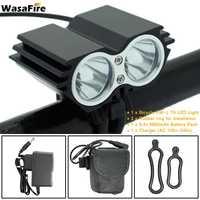 Wasafire 7000lm luz da bicicleta 2x t6 farol mtb cabeça lâmpada de ciclismo frente flash luzes com 18650 bateria + carregador