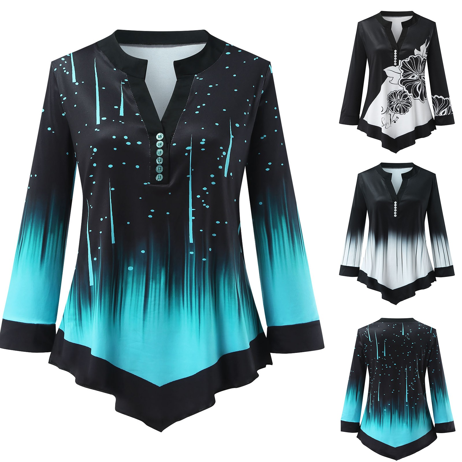 Plus Size Gradient Patchwork Printing Blouse Loose V neck Button Tunic Shirt Sexy Long Sleeve Blouses Casual Top Рубашка Женская