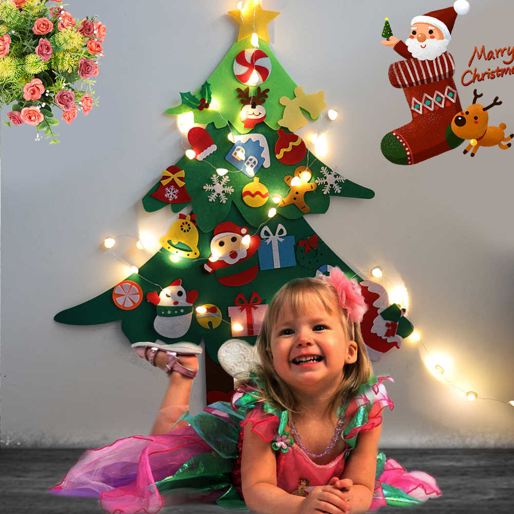 DIY fieltro árbol de Navidad con luz Año Nuevo regalos niños juguetes Artificial árbol de pared adornos colgantes decoración de Navidad para el hogar