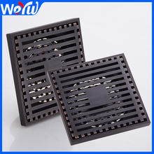 Toilet Shower Floor Drain Square Brass Black Bathroom Sink Floor Waste Grates Shower Linear Covers Tile Insert
