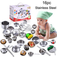 Toddler toys educational Interactive 16 Pcs Set Kids Play House Kitchen Toys Cookware Cooking Utensils Pots Pans Gift D30823(China)