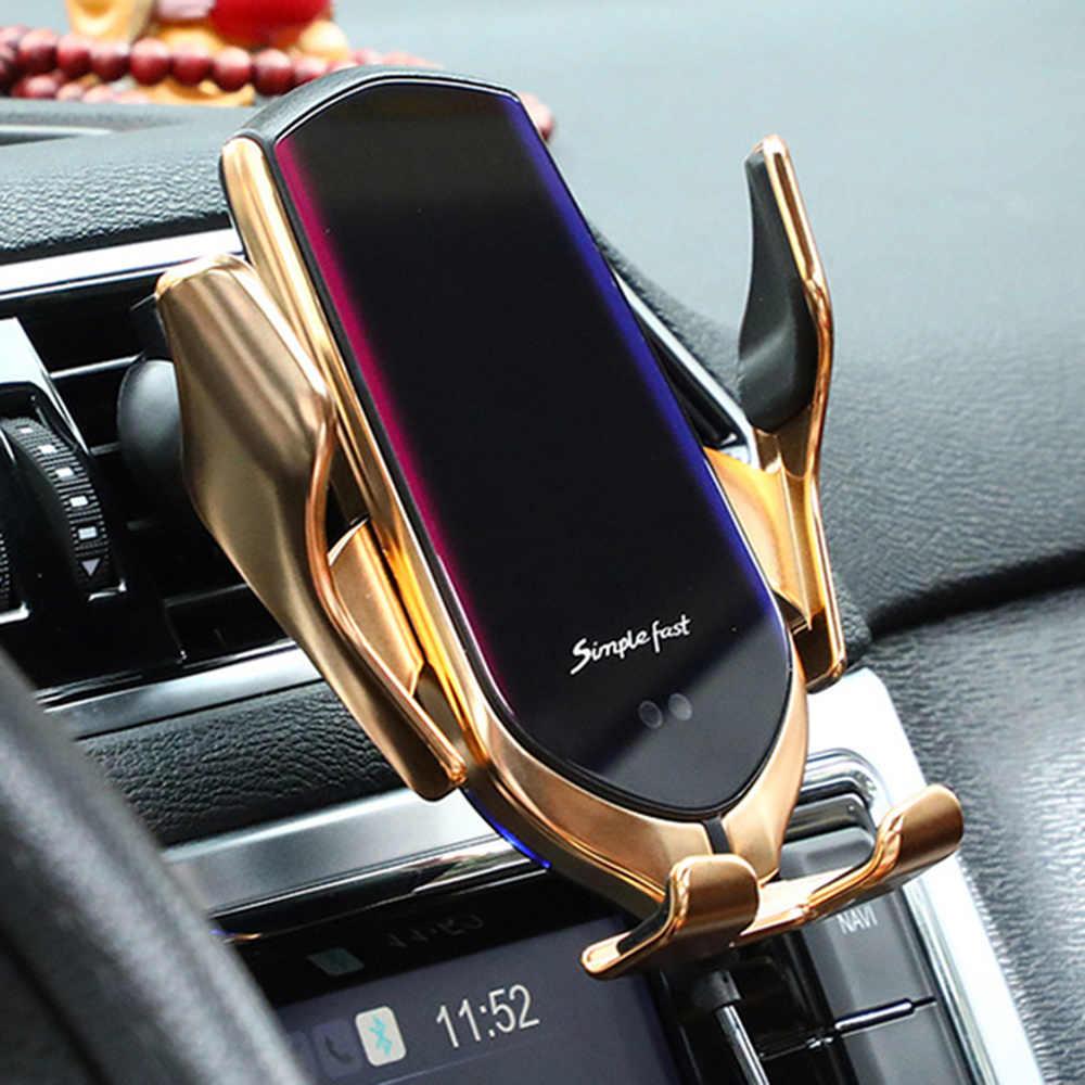 R1 R2 R3 Otomatis Menjepit 10W Mobil Charger Nirkabel untuk Iphone Huawei Inframerah Induksi Qi Wireless Charger Mobil Telepon pemegang