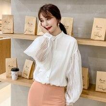 Korean Fashion Voile Chiffon Women Shirts Lantern Sleeve White Blouses Plus Size XXL Womens Tops and Ladies