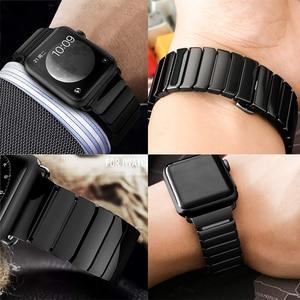 Image 5 - Ceramic Watchband for Apple Watch band 44mm 42mm Smart Watch Link Strap Bracelet Ceramic Watchband iWatch series 5 4 3 40mm 38mm
