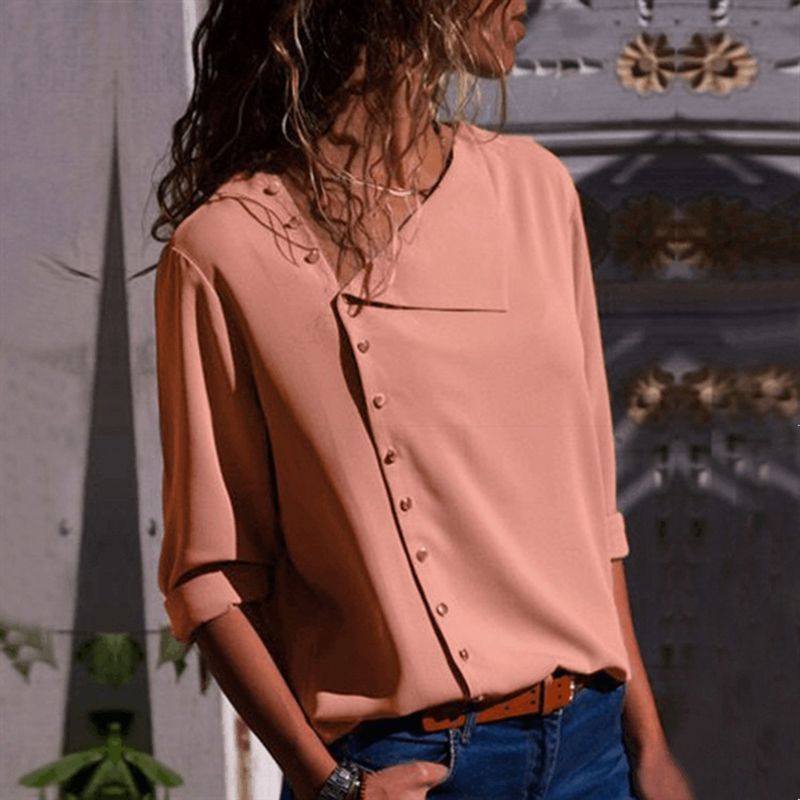 2019 Summer Autumn Elegant Plus Size Women Solid Blouse Buttons Casual Blusas Down Office Shirt Work Loose Fashion Sexy Tops