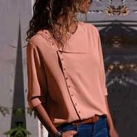 2019 sommer Herbst Elegante Plus Größe Frauen Feste Bluse Tasten Casual Blusas Unten Büro Hemd Arbeit Lose Mode Sexy Tops
