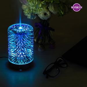LED Night Light 3D Firework Lamp Air Humidifier Aroma Oil Diffuser Mist Ultrasonic Sprayer Aromatherapy Lamp for Home Decoration