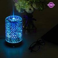 Luz da noite led 3d lâmpada de fogo de artifício umidificador ar aroma difusor óleo névoa pulverizador aromaterapia lâmpada para decoração casa