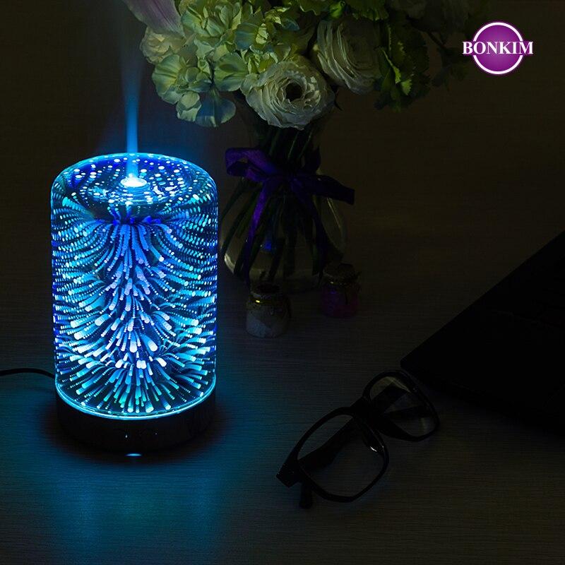 luz da noite led 3d lampada de fogo de artificio umidificador ar aroma difusor oleo nevoa