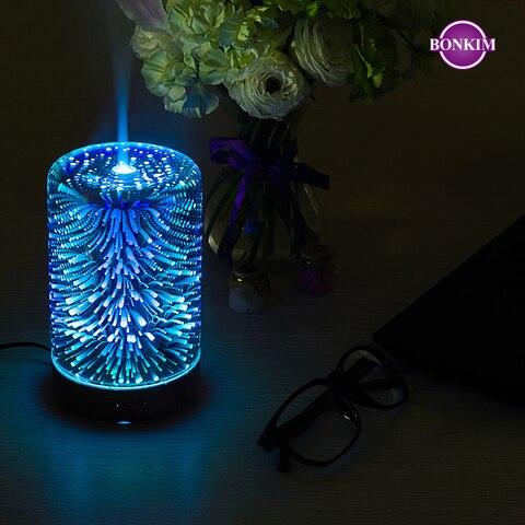 luz da noite led 3d lampada de fogo de artificio umidificador ar aroma difusor oleo
