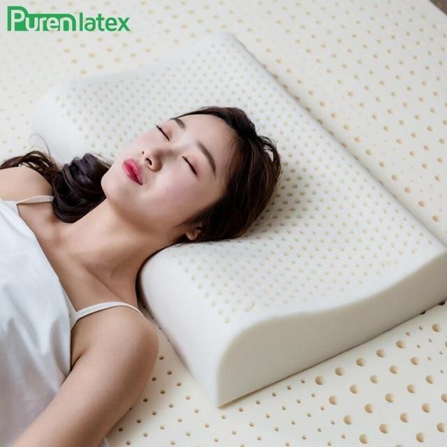 Purenlatex 60x40 tailândia puro látex natural travesseiro de cuidados de saúde pescoço para a coluna do pescoço travesseiro de látex protetor travesseiro ortopédico