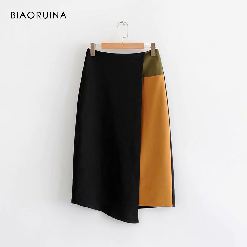 BIAORUINA Women Chic High Waist Patchwork Contrast Colors Skirt Side Zipper Office Lady Style Asymmetrical Skirt Casual Skirts