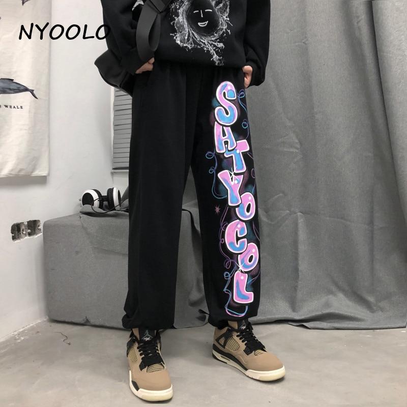 NYOOLO Vintage Streetwear Graffiti Hand Drawn Letters Print Hip Hop Jogger Pants Women Men Casual Elastic Waist Black Pants