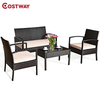 4 conjuntos de móveis do pátio dos pces cadeira do rattan conjunto de vime multi-funcional exterior bistro premium construção de aço estável