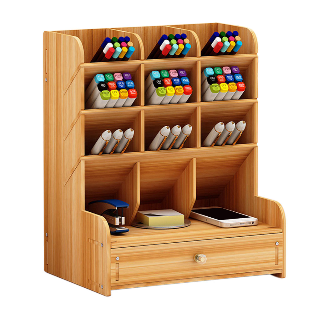 Study Children Desk Organizer Home Large Capacity Student Wooden Pen Holder Office Supplies With Drawer Stationery Storage DIY