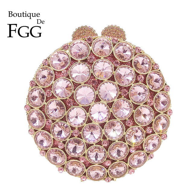 Boutique De FGG Socialite Hollow OUTรอบHardcaseผู้หญิงคริสตัลสีชมพูกระเป๋าสตางค์งานแต่งงานกระเป๋าถือคลัทช์กระเป๋า