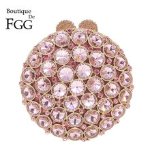 Boutique De FGG Socialite Hollow Out Round Hardcase Women Pink Crystal Evening Purse Wedding Party Prom Handbag Clutch Bag