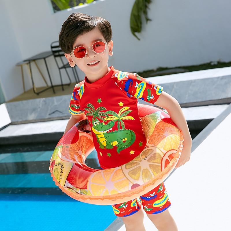 With Swimming Cap KID'S Swimwear Boy Baby Cute Small Crocodile Printed Split Type Two-Piece Set Boxer BOY'S Comfortable