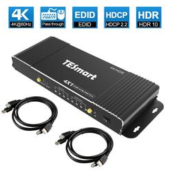 HDMI KVM Switch 4 Port 4K Ultra HD 4x1 HDMI KVM Switcher with 2 Pcs 5ft KVM Cables Supports Mechanical and Multimedia KVM USB2.0