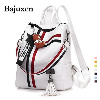 Luksusowe plecaki damskie wysokiej jakości skórzany tassel plecak dla dziewczynek wstążki szkolne torby bardzo duże torby na ramię 8 torba colorsTravel tanie i dobre opinie bajuxcn CN (pochodzenie) 20-35 litrów moda zipper żakaradowy wytrzymała torba WOMEN Prawidłowo wykrzywiona część przywierająca do pleców