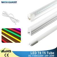 Led チューブ T5 T8 6 ワット 10 ワット 20 ワットライトランプ 30 センチメートル 60 センチメートル led ライト 2835 smd AC110V 220 v 300 ミリメートル 600 ミリメートル 1FT 2FT led 蛍光ランプアンプル