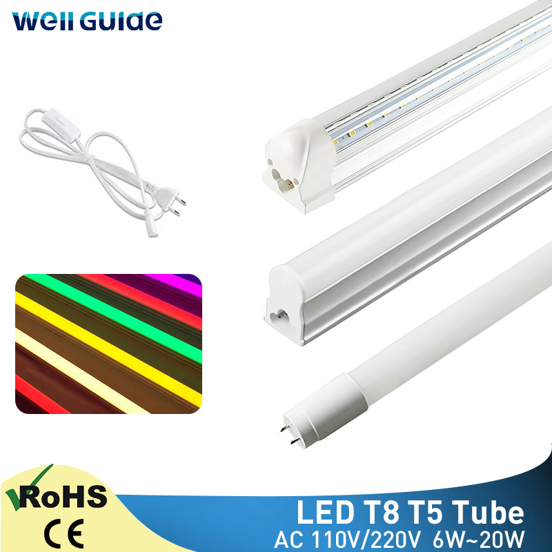Led Tube T5 T8 6W 10W 20W Light Lamp 30cm 60cm LED Light 2835 SMD AC110V 220V 300mm 600mm 1FT 2FT LED Fluorescent Lamp Ampoule