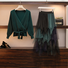 2019 Spring Ladies V-neck Bow Sweater Skirts 2 PCS Suit Pullover Top + Mesh Irregular Tulle Skirt Sets Autumn 2pcs