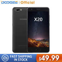 DOOGEE X20 Mobile phone Dual Camera 5.0MP+5.0MP Android 7.0 2580mAh 5.0''HD MTK6580A Quad Core 2GB RAM 16GB ROM Smartphone WCDMA