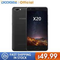 DOOGEE X20 Mobile phone Dual Camera 5.0MP+5.0MP Android 7.0 2580mAh 5.0''HD MTK6580A Quad Core 2GB RAM 16GB ROM Smartphone WCDMA