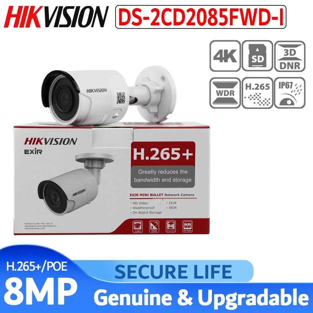 O envio gratuito de versão Em Inglês DS-2CD2085FWD-I H.265 8MP Rede mini Bala CCTV Câmera de segurança de cartão SD + câmera IP poe 30m IR