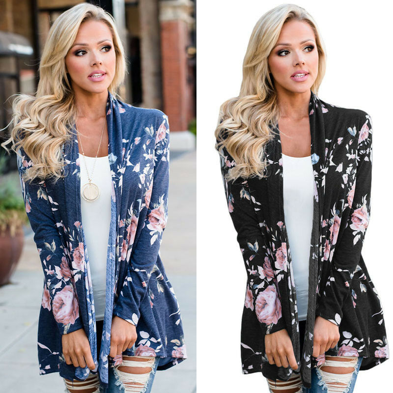 2020 New Summer Casual Women Long Sleeve Floral Print Knitted Cardigan Loose Jacket Coat S-L