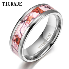 Tigrade 6/8mm Red Forest Titanium Ring for Couple Lover Wedding Band Men Women Anniversary Scenery Inlay Unique Design Size 5-12