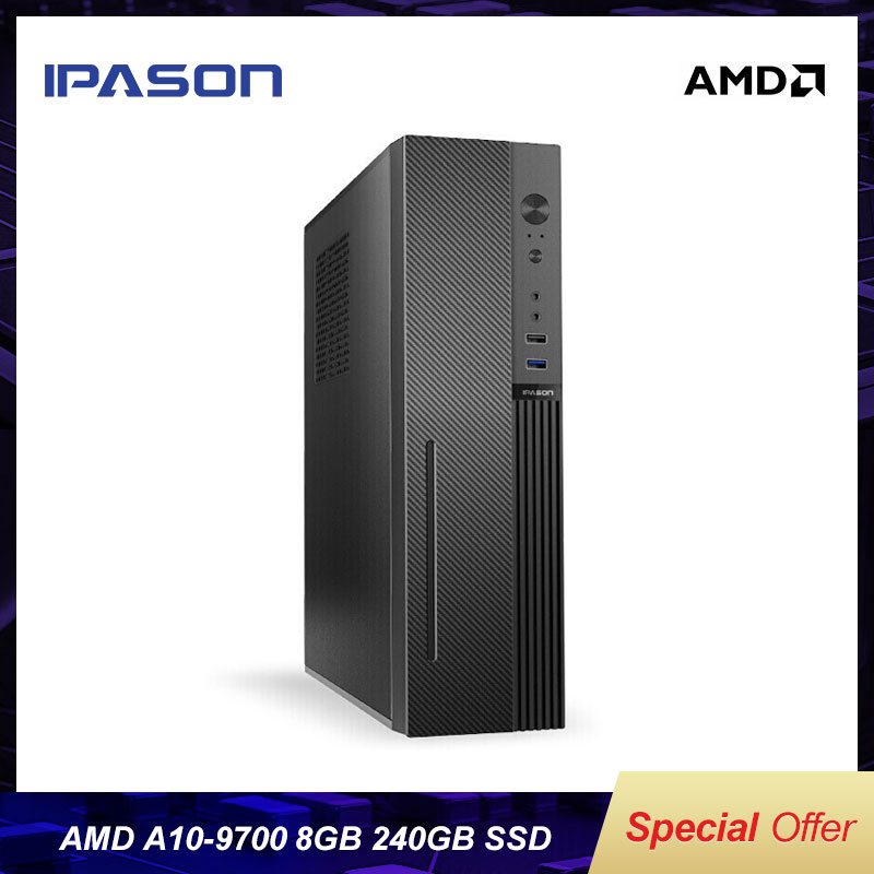 IPASON Gaming Mini PC AMD <font><b>A10</b></font> <font><b>9700</b></font> 8GB RAM 240G SSD Mini PC HDMI WiFi mini Desktop Computers PC WiFi Bluetooth image
