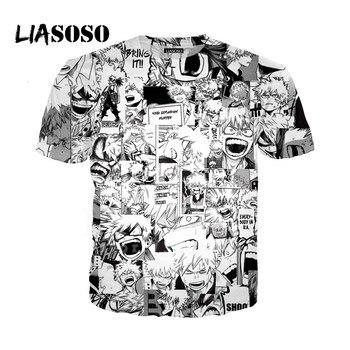LIASOSO 3D Print Women Men Anime Boku No My Hero Academia Bakugou Katsuki Many faces Tshirt Summer T-shirt Youth Tops X2777