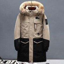 Зима, мужской длинный пуховик с утиным пухом, воротник из настоящего меха, с капюшоном, утолщенная теплая парка и пальто, Мужская брендовая одежда