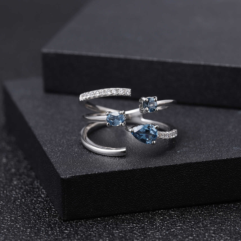 GEM'S בלט 0.83Ct טבעי לונדון טופז הכחולה אבן המזל טבעת 925 סטרלינג כסף מתכוונן להרחיב טבעת לתכשיטי נשים