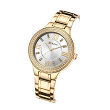 CURREN Women Watches Top Brand Trendy Rhinestones Quartz Water Resistant Ultra Thin Ladies Wristwatches Gift For Wife