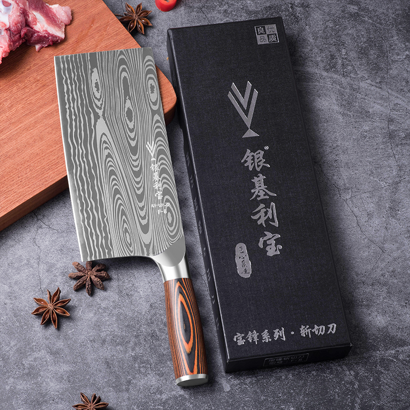 Deng knife High-grade handmade forged blade carbon steel kitchen knife Chinese chef knife vegetable cleaver kitchen Colour wood 2