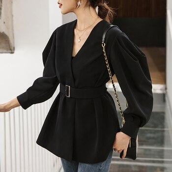 YIGELILA Spring High Quality Black Coats V-neck Lantern Sleeves With Belt Coats Solid Long Sleeves Office Lady Coats 91011 black plung v neck lantern long sleeves plain blouse
