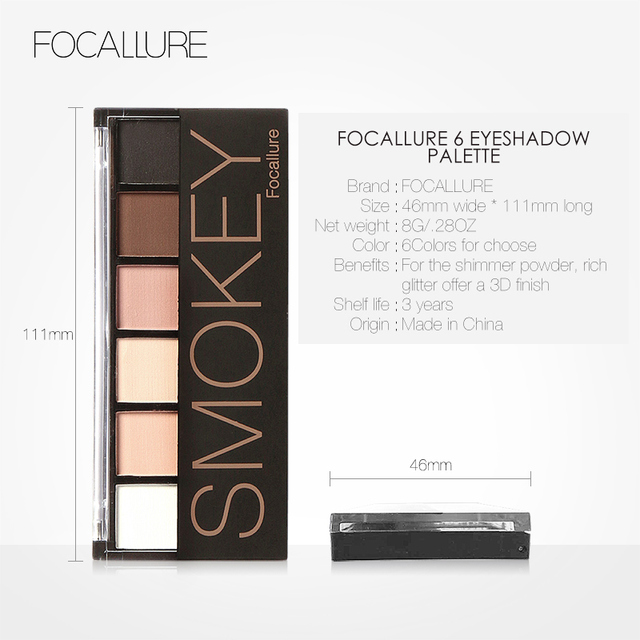 FOCALLURE 6 Colors Eyeshadow Palette Glamorous Smokey Color Eye Shadow Shimmer Glitter Smooth Creamy Powder Makeup Eye Shadow 5