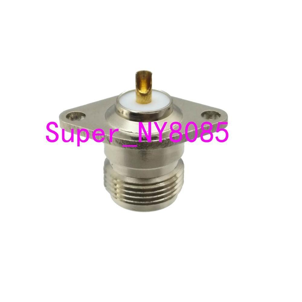 Connector N female 2-hole rhombic flange solder cup panel antenna mount socket