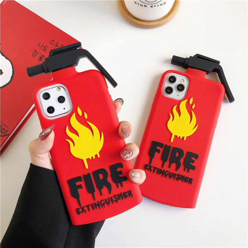 Cute 3D Cartoon Fire Extinguishers Silicone Case For Iphone 11 12 Pro X Xr Xs Max 5S 6S 6 7 8 Plus SE 2020 Cover Fire Fighters