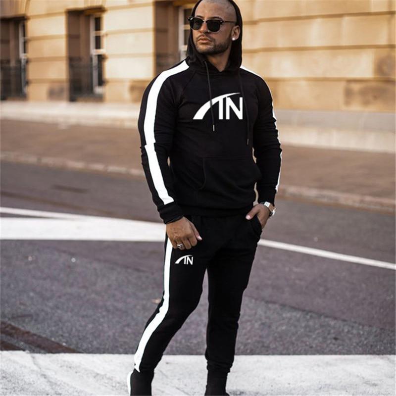 2019 Men Sportswear Hoodies Pants Set Autumn Track Suit Clothes Casual Tracksuit Men Sweatshirts Male Joggers Hoodies Streetwear