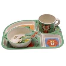 Детские бамбуковые волокно 5 шт./компл. посуда комплект детская тарелка дети мультфильм разделения пластины для тарелочной чаши, столовая ложка, вилка, Набор чашек для Кормовые принадлежности