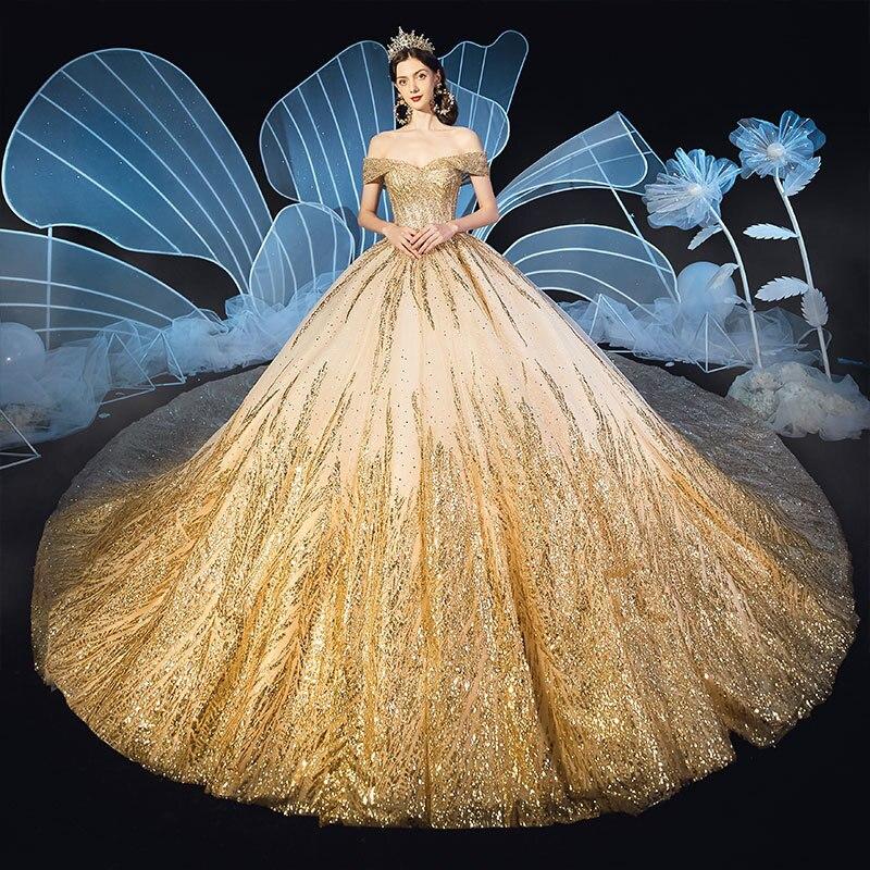 Image 3 - Lindo dubai sexy vestidos de casamento de luxo dourado 2020 lantejoulas fora do ombro vestidos de noiva vestido de noiva feito sob encomenda bodaVestidos de Noiva   -