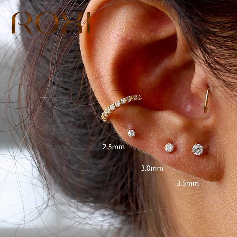 Roxi In Mini Empat Cakar Zircon Crystal Stud Earrings untuk Wanita Tindik Pendientes 2.5 Mm/3 Mm/3.5 Mm 925 Sterling Silver Anting-Anting